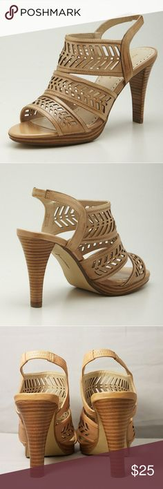 """ADRIENNE VITTADINI Description  Triple strap style with laser cut detail, rear stretch strap, stacked heel Some wear on the bottom but they are in very good used condition. No box Color is a Nude or Cream  4""""heels Size 6 Medium  LeatherImportedSynthetic sole   ✔ AVAILABLE  🚫TRADES 🚫HOLDS 💰SAVE 10% 2x ITEMS 📦 NEXT DAY    Adrienne Vittadini Shoes Heels"""
