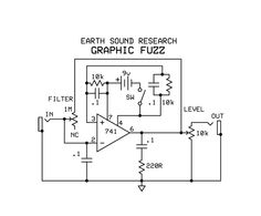 Earth Sounds Research Graphic Fuzz Schematic Simple Electronics, Electronics Basics, Electronics Projects, Guitar Effects Pedals, Guitar Pedals, Diy Guitar Pedal, Guitar Amp, Music Guitar, Sony Led