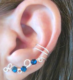 """Non Pierced Ear Cuff  """"Crystal Vine"""" Cartilage Conch Cuff Wedding Prom Homecoming #jewelry #arianrhodwolfchild #piercing #cartilage #teen #earrings #earcuff  #wedding  #bridesmaids #homecoming"""