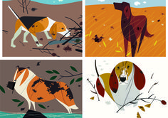 Hound prints of the late Charley Harper