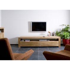 Meuble TV Teck massif Double - 2 tiroirs