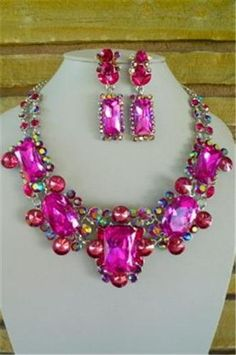 Chunky Pink Crystal Silver Chain Earring Necklace Set Fashion Costume Jewelry | eBay & Vintage costume jewelry Buy natural #gemstones online at mystichue ...