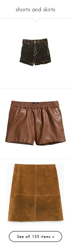 """shorts and skirts"" by homingpigeon on Polyvore featuring shorts, bottoms, pants, short, madewell, velvet shorts, short shorts, madewell shorts, cognac brown and h&m shorts"