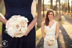 neutral bridesmaid bouquet, peony bouquet, rose bouquet #bridesmaid #fleurtaciousdesigns - Elario Photography