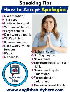 Speaking Tips - How to Accept Apologies - English Study Here English Speaking Skills, English Learning Spoken, Teaching English Grammar, English Writing Skills, English Language Learning, English Lessons, Spanish Grammar, Teaching Spanish, English Sentences