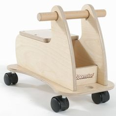 Zoomster sit and ride toy in natural polished wood.A deluxe ride on toy for toddlers and young children. The smart Zoomster has multi directional castors to make it easy to go sideways, forwards and backwards with minimum effort without getting stuck. Chunky, easy grip handlebar for little hands and a comfortable seat set at a perfect height for children aged 18 months to 3 years. The under seat storage compartment is a perfect place for favourite toys. Supplied flat packed for easy self…