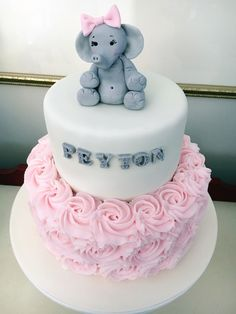 Elephant Pink Baby Shower Cake, by Amy Hart