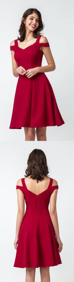 Cheap Red Off-Shoulder Sleeveless Knee Length V-neck Homecoming Dress H274, #shortpromdress #partydress #reddress #offshoulderdress #kneelengthdress #eveningdress