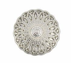 Mandala Flower Shiny Silver Metal Shank Buttons - 17mm - 11/16 inch