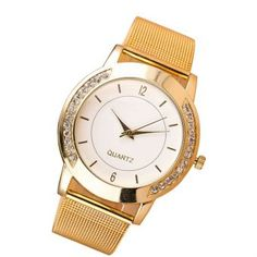 Reloj Geneva Moda Cristal Acero inoxidable Cosa análoga Cuarzo Pulsera Mujer-dorado