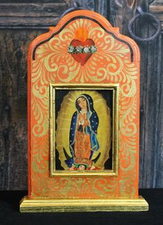Hand Painted Wood Niche Nuestra Señora de Guadalupe, Michoacán Mexico, Folk Art
