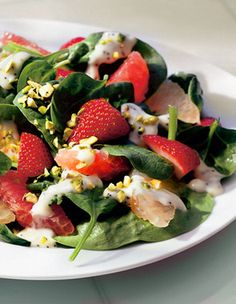 Sassy Spinach Strawberry Salad drizzled with Poppy Seed Dresssing