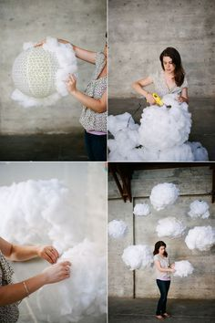 DIY Clouds - for a photoshoot, or a kids room / nursery . Cloud Lamp, Diy Cloud, Glow Cloud, Cloud Lantern, Creation Deco, Practical Wedding, Ideas Para Fiestas, Blog Deco, Classroom Decor