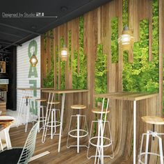 S café – bar design with green walls, curved wood, rough wood – coffee shop design – industrial design studio Rough Wood, Curved Wood, Coffee Shop Design, Simple Business Cards, Shop Front Design, Shop Window Displays, Facade House, House Layouts, Cafe Bar