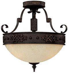 Capital Lighting 3603RI River Crest Traditional Rustic Iron Semi-Flush Flush Mount Ceiling Light Fixture - CPT-3603RI