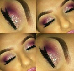 White & Pink Eye Makeup
