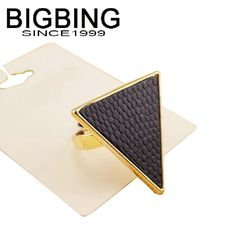 Bigbing jewelry fashion black leather Triangle golden ring set female personality ring wholesale accessories TL409