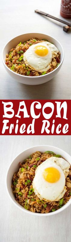 Bacon Fried Rice with a fried egg on top! Quick and easy breakfast, lunch or dinner! by viola Easy Egg Recipes, Egg Recipes For Breakfast, Side Dish Recipes, Rice Recipes, Lunch Recipes, Easy Dinner Recipes, Asian Recipes, Easy Meals, Cooking Recipes