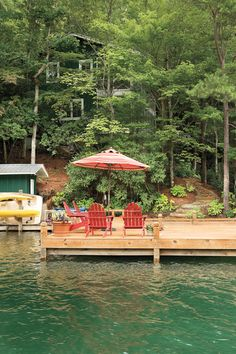 """Casual groups of chairs all around the Cotney cabin offer inviting spots to relax by the lake.    """"When you're up at the lake, you actually see your children,"""" says Kathy. """"It's a great place to reconnect with family."""""""
