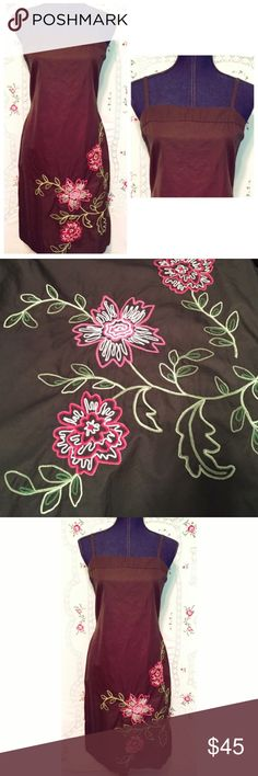 """J.CREW Cotton Embroidered Dress with Thin Straps J.CREW summer dress with thin straps and back zipper. The color is a dark army green with pink and light green embroidered flowers. Size 10, all cotton. Length is 33"""", bust measures 36"""" and the waist is 33"""". Kind of a boxy style. All color descriptions and measurements are approximate. In excellent condition. J. Crew Dresses"""