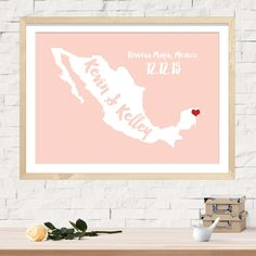 Custom Wedding Map, Wedding Guest Book, Alternative Wedding Guestbook, Unique Wedding Guestbook, Mexico Wedding, Any State or Country Map by WillowAndOlive on Etsy