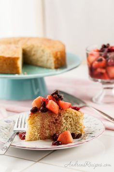 Meyer Lemon Polenta Cake with Winter Fruit Compote - Andrea Meyers (adapted from Cooking Light)