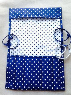 Knitting needle case Crochet holder organizer circular roll navy blue polka dot top quality cotton fabric handmade Birthday gift