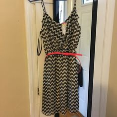 Chevron dress Super cute Black and Tan chevron print dress. Deb Dresses