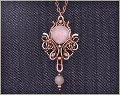 Wire wrap pendant, labradorite stone pendant necklace, wire wrapped jewelry handmade. $100.00, via Etsy. Wirecolibri