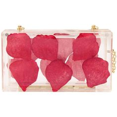 WithChic Transparent Petal Embellished Box Clutch Bag (2.565 RUB) ❤ liked on Polyvore featuring bags, handbags, clutches, red clutches, chain handbags, see through purse, embellished purses and embellished handbags