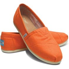 TOMS Linen Classic Tangerine Women Size 12 ($48) found on Polyvore