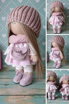 Rag doll Love doll Fabric doll Handmade doll Decor doll Nursery doll Bambole di stoffa Tilda doll Muñecas Pink doll Cloth doll by Elvira