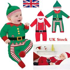 Baby Clothes Outfits Boy Girl Kids Romper Hat Cap Set Christmas Gift for 0-24M