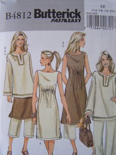 Butterick 4812 Sewing Pattern Fast and Easy Misses' Sleeveless Dress Pullover Top and Pants UNCUT Factory Folds Sizes Vintage Sewing Patterns, Clothing Patterns, Dress Patterns, Sewing Clothes, Diy Clothes, Plus Size Patterns, Tunic Pattern, Dressmaking, Pattern Fashion