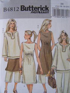 Butterick B4812 costura patrón - mujer ' vestido, Top y pantalones, túnica, Boho, fácil de coser, más tamaño patrón