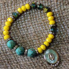 Faith ~ Bohemian Czech Glass Bead Bracelet - Vintage Rosary Medal - Rhinestone - Maddie Jean Vintage