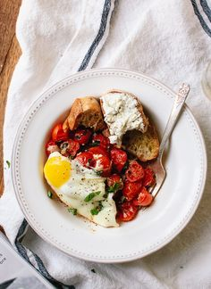 Baked Eggs on Roasted Cherry Tomatoes | Cookie and Kate