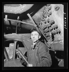Chicago, Illinois. Railroad worker employed in the Chicago and Northwestern Railroad locomotive shops, ca. 1940.