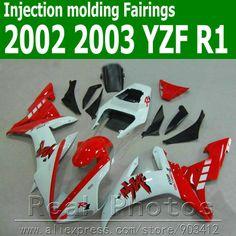 400.20$  Watch here - http://alie78.worldwells.pw/go.php?t=32357708989 - Injection molding full fairing kit for YAMAHA R1 2002 2003 white red black YZF R1 02 03 high grade fairings set JK49