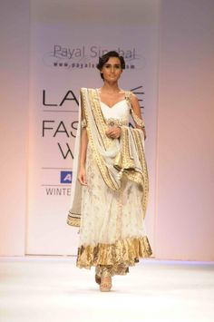 Payal Singhal #gold #anarkali #white