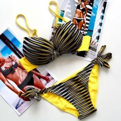 Stylish Halter Striped Women's Bikini Set