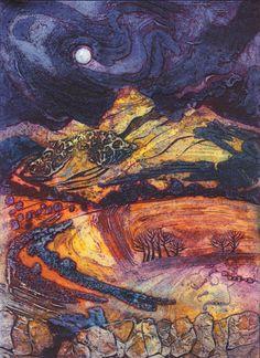 Moon Rising: Autumn Peaks, Collagraph, by Janine Denby Landscape Art, Landscape Paintings, Collagraph Printmaking, Art Techniques, Collage Art, Collages, Art Lessons, Art Prints, Artwork