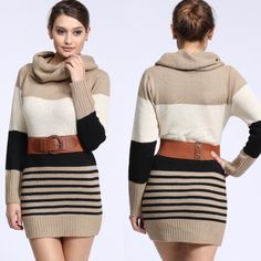 """""""Beauty"""" Long Sleeve Sweater Tunic / Dress Long sleeve taupe striped Colorblock tunic or dress featuring a cowl neck. Brand new. True to size. NO TRADES. Bare Anthology Sweaters Cowl & Turtlenecks"""