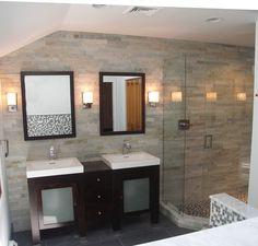 Stone Cladding in Bath - contemporary - bathroom - philadelphia - Gavin Design-Build Inc. Small Space Bathroom, Small Spaces, Stone Cladding, Curtain Patterns, Grey Tiles, Building Design, Modern Design, New Homes, Philadelphia