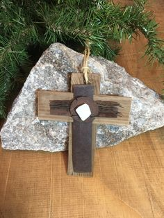 Handmade Unique Southwest Rusty Rustic Metal Wood Cross Christmas Ornaments Decor Wall Hanging Christening Cross Desert Sea Glass by GiChPaLo on Etsy https://www.etsy.com/listing/486579699/handmade-unique-southwest-rusty-rustic