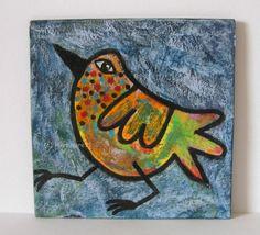 EINZELGÄNGER von Herbivore11 Unikat Minibild bunter Vogel Vögel Kunst  Zeichnung