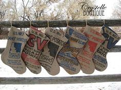 What a great idea: DIY Christmas stockings made out of potato sacks. Make 'em big for more presents and treats!