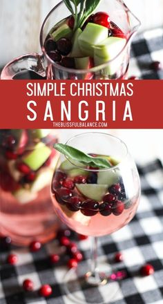This simple Christmas sangria is sweet, tangy, and will surely impress your family and friends! Bring this sangria to your next Holiday party! Christmas Party Food, Christmas Cocktails, Christmas Brunch, Holiday Drinks, Christmas Baking, Fun Drinks, Yummy Drinks, Holiday Recipes, Alcoholic Drinks