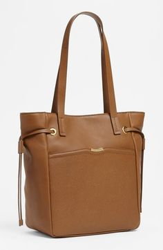 """$88.98 T Tahari Leather Tote, Large   Nordstrom 11 1/2 """"W x 12""""H x 6""""D Cognac Leather Magnetic snap closure exterior mag snap slip pocket interior zip, wallet, cell pockets"""