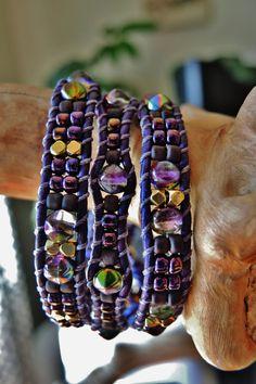 Purple MAGIC ORCHID 3 Wrap Violet Leather by BraceletsofBlueRidge